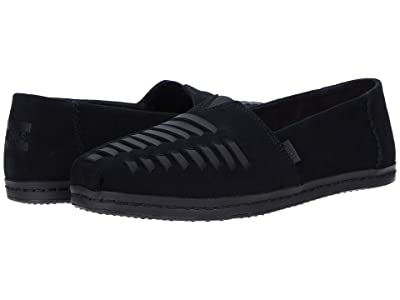 TOMS Alpargata Leather Wrap (Black Suede) Women
