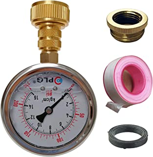 PLG Water Pressure Gauge Test Set,2 in. 0 psi 230 psi,with Teflon Tape About 300 inch, 3/4