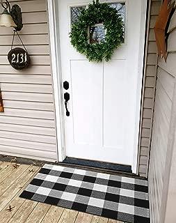 Ukeler Buffalo Plaid Rug 100% Cotton Porch Rugs Black and White Checkered Plaid Door Mat Hand-Woven Washable Rag Rug Floor Mat Outdoor Decor, 23.5'' × 35.4''