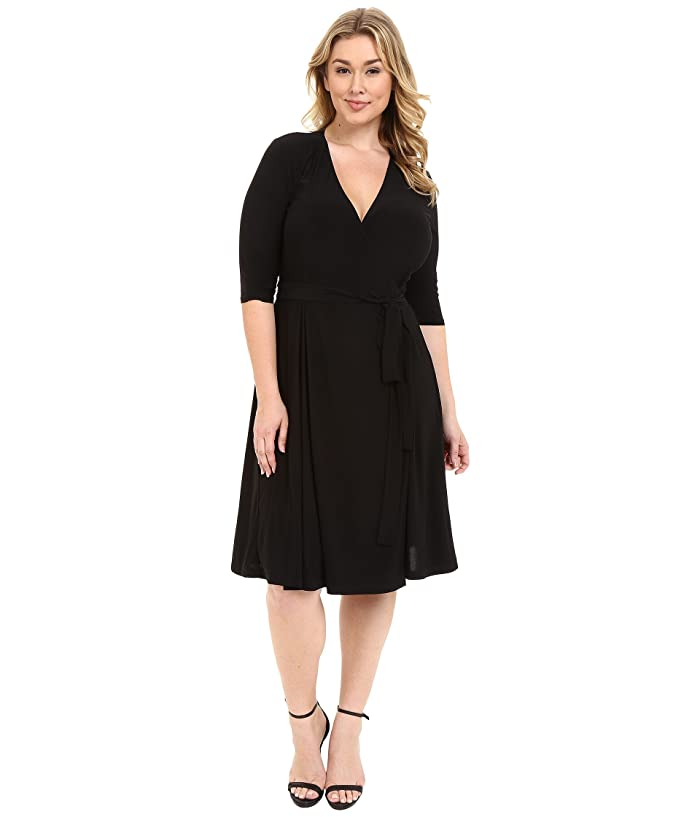 Kiyonna Essential Wrap Dress (Black Noir) Women's Dress