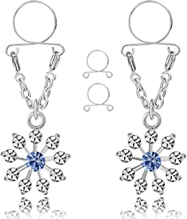 CABBE KALLO 2Pcs Fake Nipple Rings Non-Piercings Stainless Steel Nipple Clamps Body Piercing Jewelry