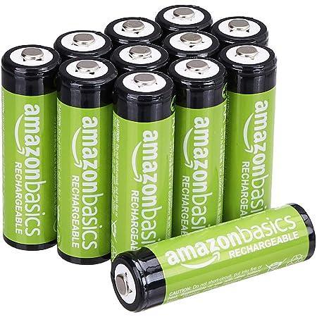 Amazon Basics - Batterie ricaricabili AA (confezione da 12), 2000 mAh, pre-caricate