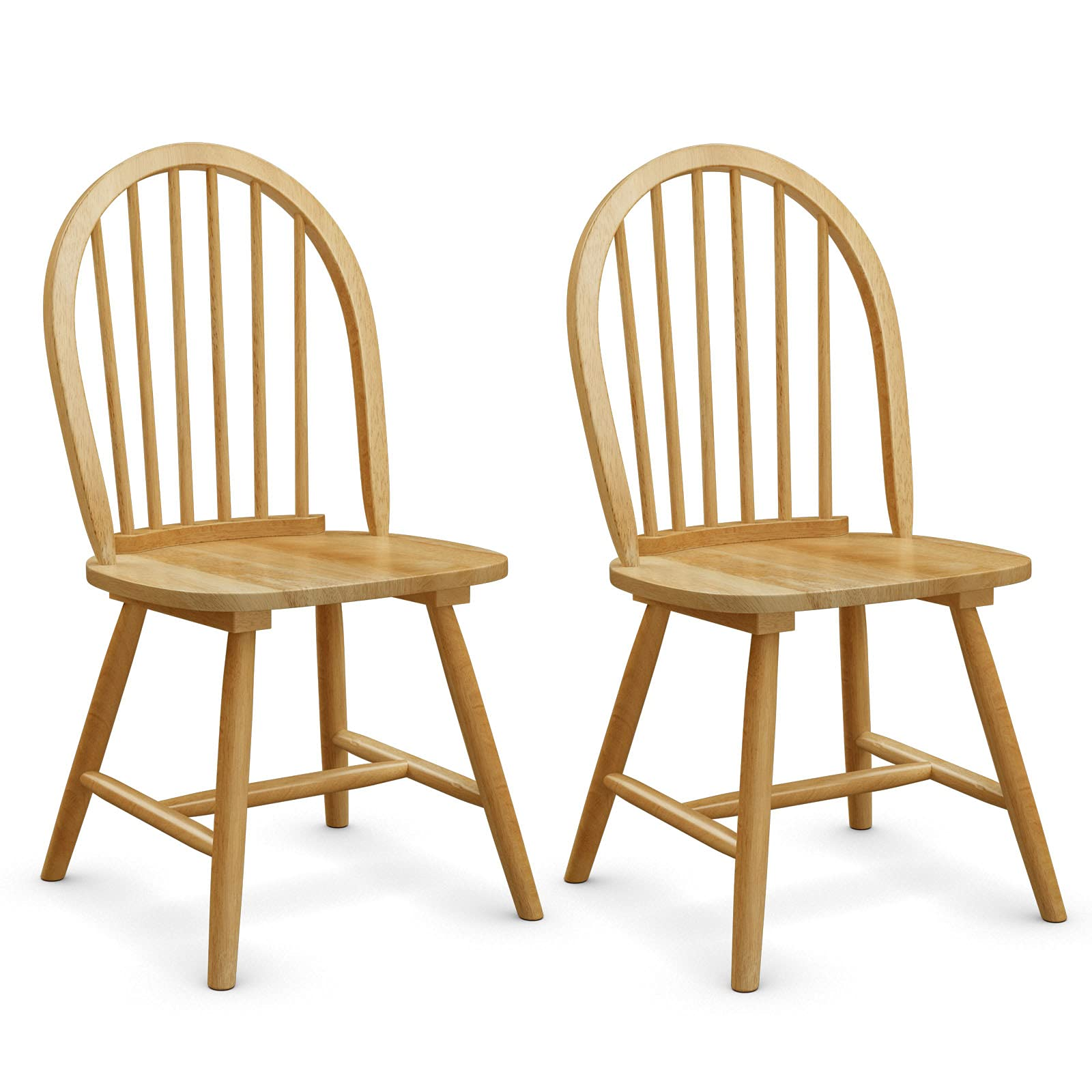 COSTWAY Set of 2 Dining Chairs, Solid Wood Side Chairs with High Spindle Back, Country Style Home Kitchen Dining Room Furniture 2PCS Leisure Chair Seats