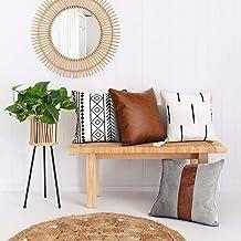 ميريكولور أغطية وسائد رمي مجموعة من 4 قطع، غطاء وسادة من الجلد الصناعي للأريكة 45.72 × 45.72 سم، بوهو، ديكور مزرعة عصري