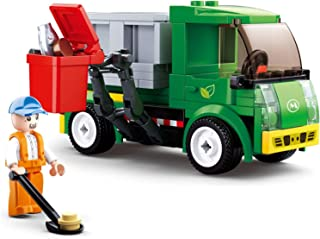 YOUPIN City Town Building Block City Great Vehicles Municipal Car Garbage Truck Light Repair Truck Road Sweeper Sprinkler ...