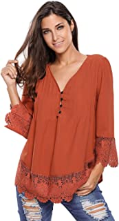 Dark Orange Lace Detailed Sleeved Blouse