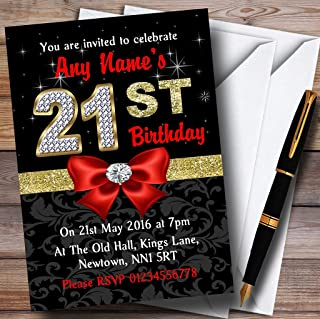 Red Black Gold Diamond 21St Birthday Party Personalized Invitations