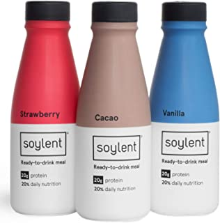 Soylent Variety Pack Plant Protein Meal Replacement Shake, 14 oz (Pack of 12), 4 of each Strawberry, Vanilla, Cacao (Choco...