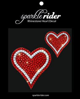 Sparkle Rider Rhinestone Decal Stickers Heart-Shape - Unique Girly Accessory Gift for Her Women Wedding - Waterproof Bling Decor for Car Motorcycle Helmet Wall Window (2 pcs Red/Silver)