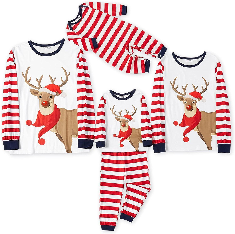 IFFEI Matching Family Pajamas Sets Christmas PJ's Reindeer and Stripe Print Long-sleeve Sleepwear