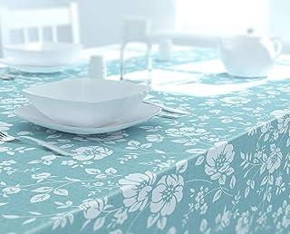 Dehaus® Mantel Antimanchas (Varios Tamaños/Formas), Impermeable Manteles de Plástico Resinado Hules Azul Huevo de Pato 200 cm x 140 cm Azul Pastel (Floración Floral Azul Pastel)
