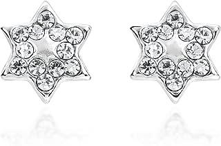star of david earrings silver