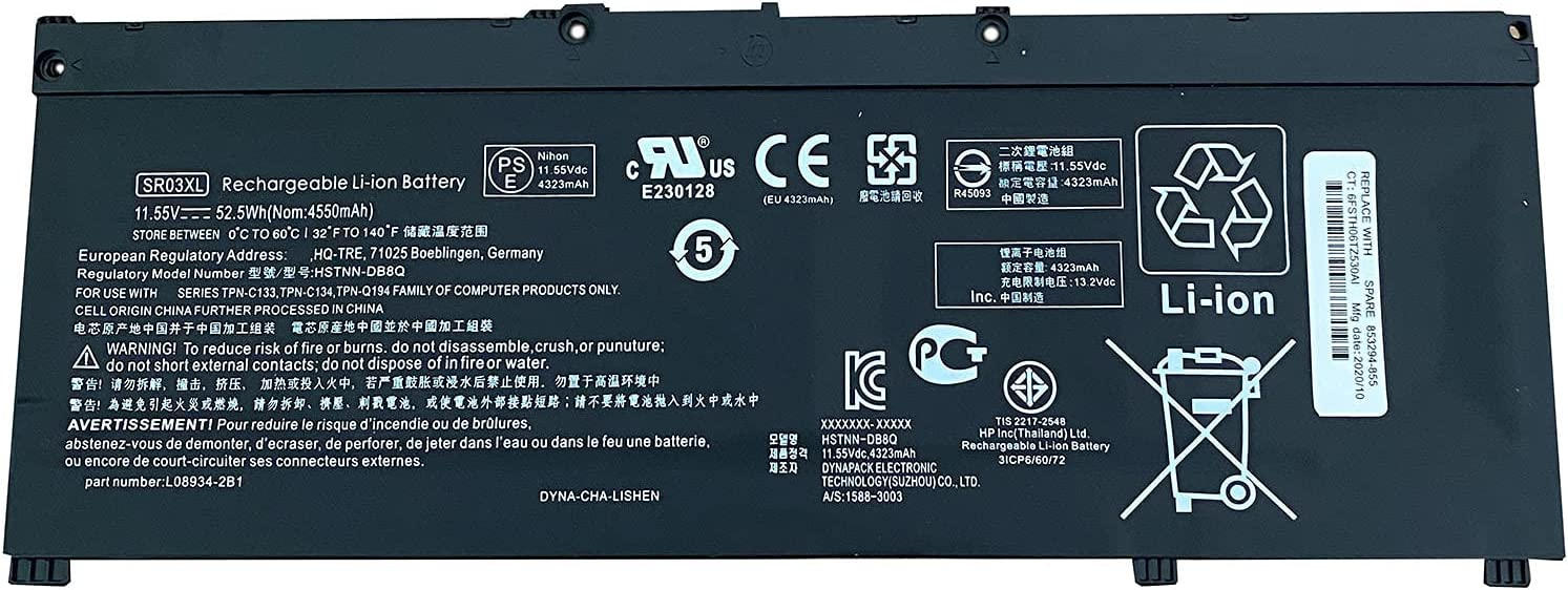 SUNNEAR SR03XL Max 75% OFF L08855-855 Battery Replacement x360 HP for 1 Envy Sales results No. 1