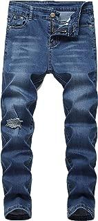 Boy's Ripped Skinny Jeans Distressed Elastic Straight Fit Fashion Denim Pants