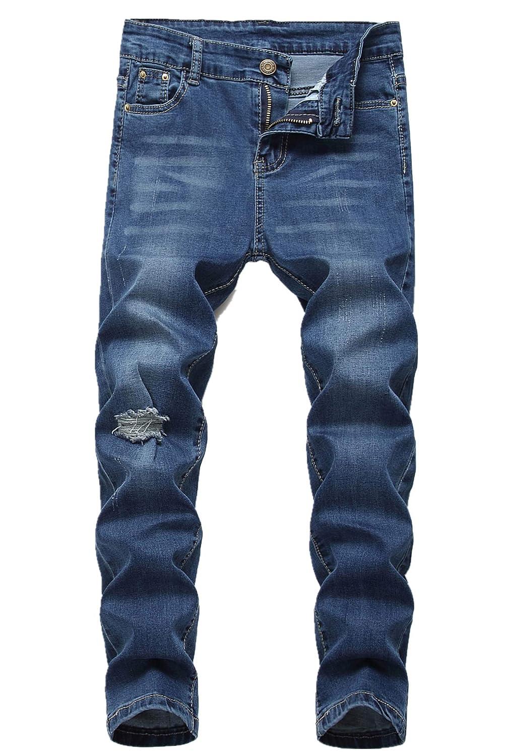 Boy's Jeans Kid's Slim Straight Fit Elastic Waist Stretch Fashion Pants(5 6 7 8 10 12 14 16)