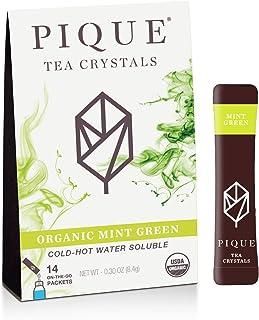 Pique Tea Organic Mint Sencha Green Tea Crystals - Immune Support, Gut Health, Fasting - 14 Single Serve Sticks (Pack of 1)