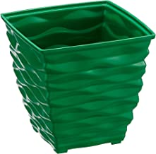 Klassic Plastic Square Planter Set (Small, Dark Green, Pack of 6)