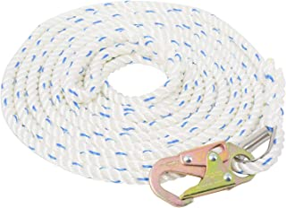 Amarine Made 5/8 Inch 50ft Fall Protection Vertical Lifeline Rope with Back Splice and Snap Hook