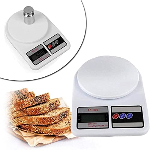 ZENUSS Portable Electronic Digital Weighing Scale Weight Machine Food Weighing Scale Fruits Vegetables Products Electric White 10 Kg