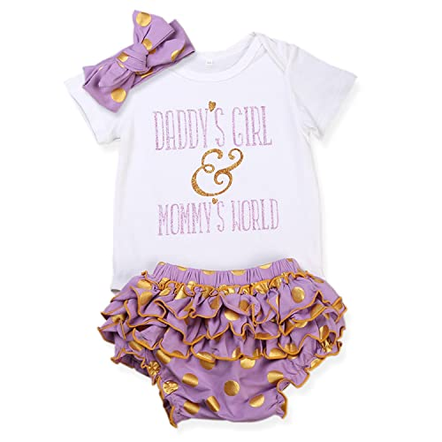 fc3cfe52e241 Baby Girls Clothes Summer Letter Print Rompers+Ruffle Pants Shorts+Headband  3PCS Outfits Set