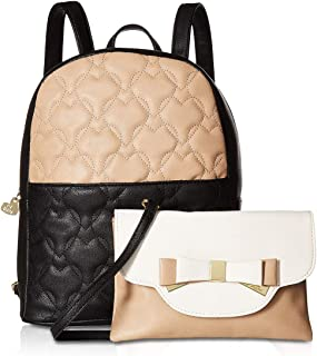 betsey johnson heart quilted backpack