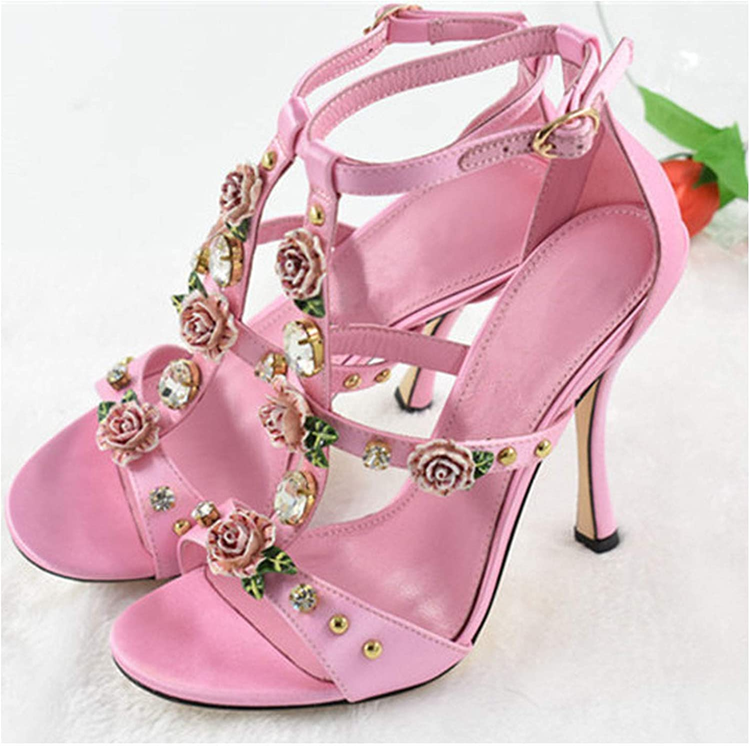 Pink Flower Narrow T-Shape Ankle Buckle Women shoes Round Toe Cover Back Black Satin Thin High Sandals Woman