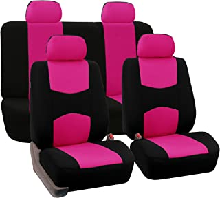 FH Group Universal Fit Full Set Flat Cloth Fabric Car Seat Cover, (Pink/Black) (FH-FB050114, Fit Most Car, Truck, Suv, or Van)