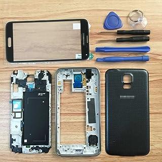 غطاء حافظة كامل + عدسة زجاجية + إطار + غطاء باب بطارية + أزرار + أدوات لهاتف سامسونج جالاكسي S5 i9600 G900 أسود