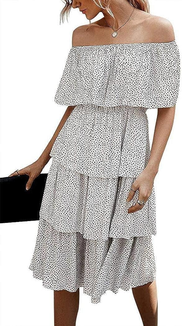 Shilanmei Womens Off The Shoulder Ruffle Dress Polka Dot Printed Strapless Summer Pleated Midi Dress Party Beach