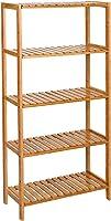 رف خيزران من 5 طبقات، وحدة رفوف تخزين قائمة حر، قابل للتعديل، للأحذية النباتية، 60 × 26 × 130 سم، طبيعي BCB35Y