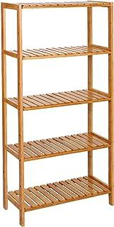 SONGMICS BCB35Y Estantería de Bambú de 5 Niveles, para Baño, Librería, Zapatero, 132 x 30 x 9.5 cm