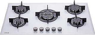 Millar GH9051PW Plaque de cuisson en Verre trempé avec 5 brûleurs à gaz Blanc 90 cm/Table de Cuisson