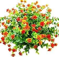 YOSICHY Artificial Flowers, Fake Outdoor UV Resistant Plants Faux Plastic Greenery Shrubs for Outside Hanging Planter Home Kitchen Office Wedding Garden Decor(Orange Red)