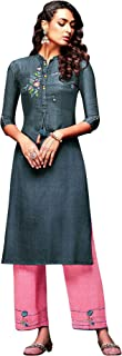 فستان هندي طويل للنساء مع مجموعة سراويل بالازو من ladyline Kurtis
