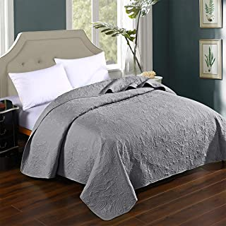 HollyHOME Super Soft Solid Single Bed Quilt Bedspread Comforter Bed Cover, Floral Pattern, Grey, Full/Queen