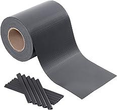 Songmics GPJ100GY 100m PVC zichtwerende strepen hekfolie windscherm 2 rollen m x 19 cm extra dik met 50 bevestigingsclips ...