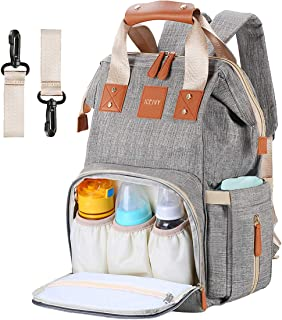 Baby Changing Bag,Rucksack Changing Bag,Baby Bag,Nappy Bag, Multi-Function,Waterproof,Large Diaper Bag Backpack with Insulated Pocket for Mum&Dad,Grey