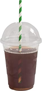 [200 SETS] Plastic Disposable Cups with Dome Lids - Premium 20 oz (ounces) Crystal Clear PET Cold Drinks Iced Coffee Tea Juices Smoothies Slush Soda Cocktails Beer Kids Safe (20oz Cups + Domed Lids)