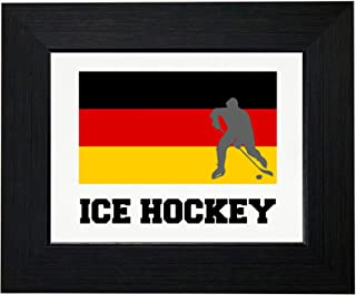 Royal Prints Germany Olympic - Ice Hockey - Flag - Silhouette Framed Print Poster Wall or Desk Mount Options