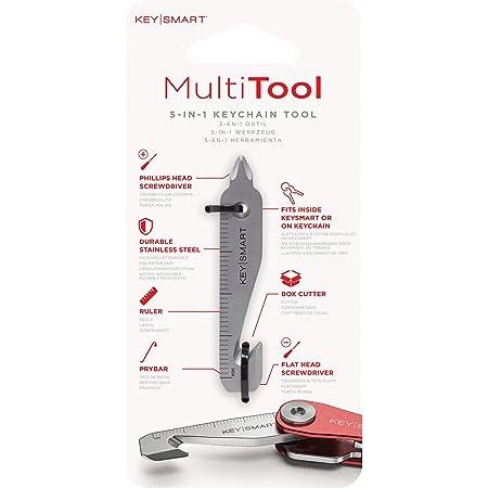 KeySmart MultiTool - Portachiavi multiuso 5 in 1, strumento con taglierina per scatola, righello, levachiodi, cacciavite a croce e a testa piatta