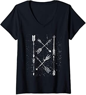 Womens Vintage Tribal Arrow Shaft Pointer Indian Tribe Protection V-Neck T-Shirt