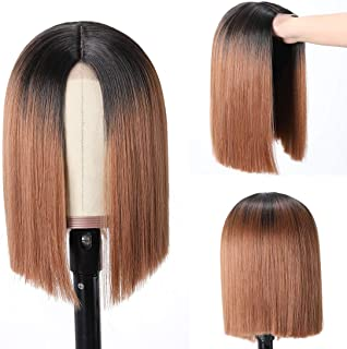 Buladou Hair Natural Looking Straight Fake Scalp None Lace Short Synthetic Bob Wigs with Dark Roots Medium Length Ombre Bo...