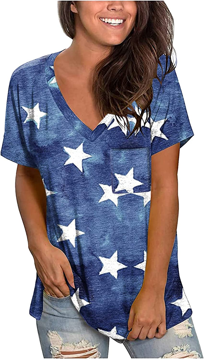 ORT Pocket Short Sleeve Shirts for Womens, Fashion Tie-Dye T-Shirts Casual Loose Fit Tops Short Sleeve V-Neck Top Blouses