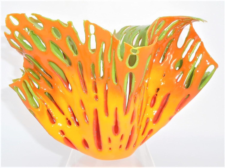 Orange Yellow Green 絶品 Red Coral 店 Vase 6.75 Holder Handc inch Candle