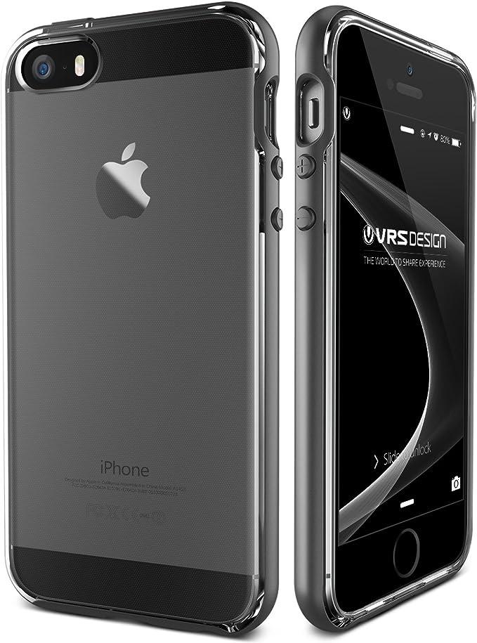 Coque pour iPhone Se/iPhone 5S / iPhone 5 / VRS Design ® [Argent foncé] Double Couche arrière Transparente Fine et résistante aux Chocs [Crystal ...