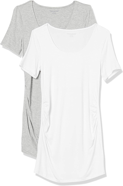 Fashion-Maternity-t-Shirts Mujer Essentials Camiseta de Manga Corta con Cuello Redondo Y Manga Corta