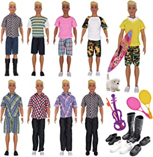 EuTengHao 25Pcs Doll Clothes and Accessories for Ken Dolls Includes 16 Different Wear Clothes Shirt Jeans,4 Pairs of Shoes for Barbie Ken Doll, Dog, 2 Tennis Racket, Violin and Surfboard