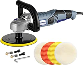 WORKPRO Car Polisher - 7-inch Variable Speed Buffer Waxer with 4 Buffing and Polishing Pads, Detachable Handle, Ideal For Car Sanding, Polishing, Waxing, Sealing Glaze
