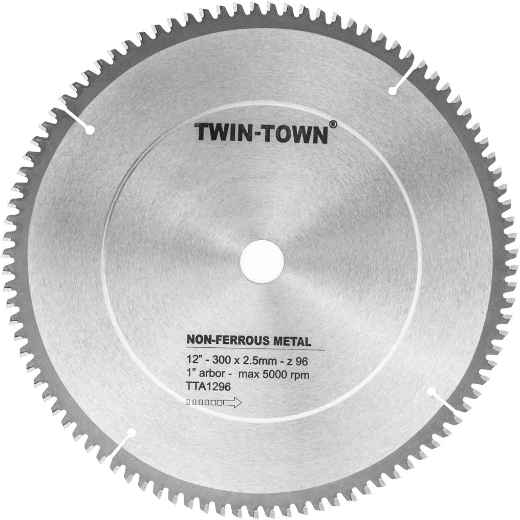 TWIN-TOWN 12-Inch 96 Tooth TCG Aluminum and Non-Ferrous Metal Saw Blade with 1-Inch Arbor