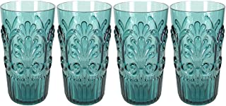 Le Cadeaux Fleur Teal Blue 4 Piece Highball Glasses Set
